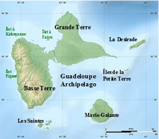 Map of Guadeloupe Archipelago