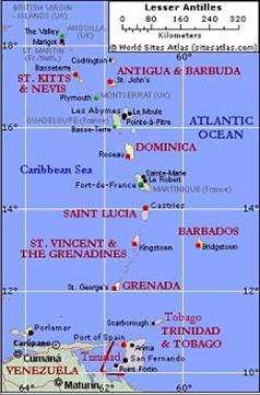 Map of lesser Antilles